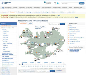 Example of the icelandic weather forecast channel