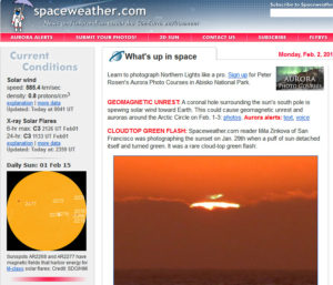 Example of the homepage for the aurora forecast website spaceweather.com
