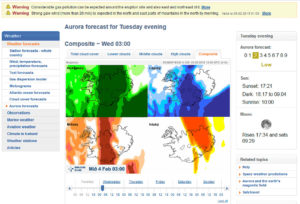 Example of the aurora forecast on vedur.is